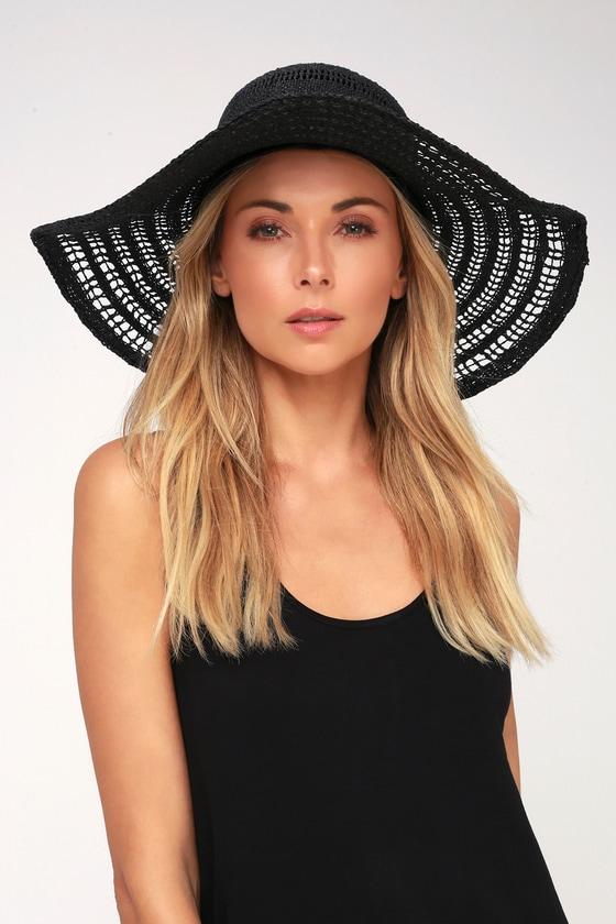 a52d22ef Cute Black Hat - Black Straw Hat - Sunhat - Floppy Hat