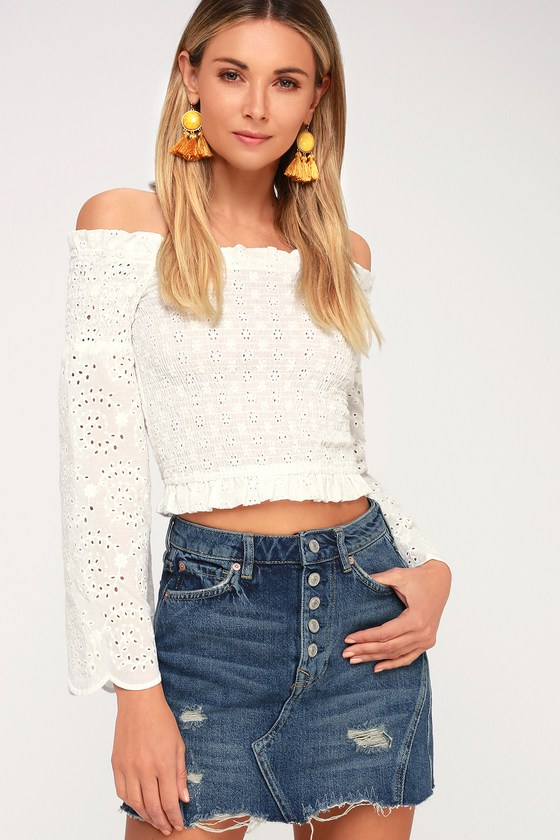 A Line Medium Wash Distressed Denim Skirt by Free People