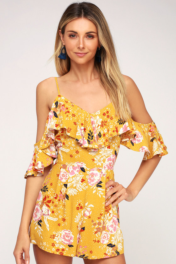 how to choose 50% off cheap for discount Golden Hours Mustard Yellow Floral Print Off-the-Shoulder Romper
