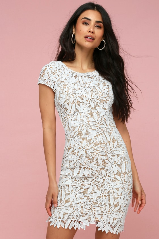 Right Sheer Right Now White Lace Bodycon Dress