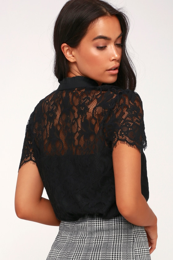 100c80cf6487f4 Stunning Lace Top - Black Lace Top - Short Sleeve Dress Top