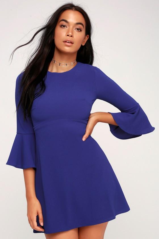 eeced2d67568 Cute Royal Blue Dress - Flounce Sleeve Dress - Sheath Dress