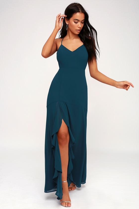 dc862553ba Elegant Navy Blue Dress - Lace-Up Dress - Front-Slit Dress