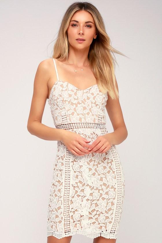 a0985f7343 Lovely White Dress - Lace Dress - Sheath Dress