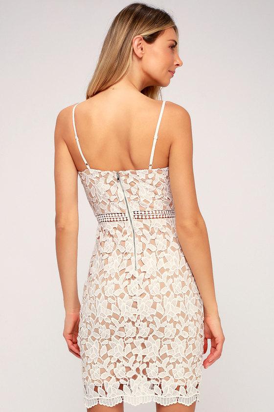 081647066a Lovely White Dress - Lace Dress - Sheath Dress