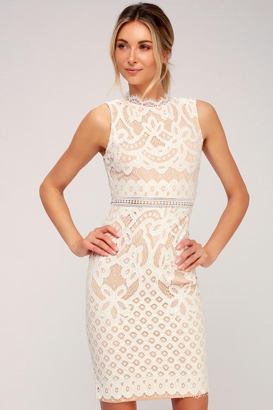 f6d8d745b3c Lovely White Dress - Lace Dress - Midi Dress