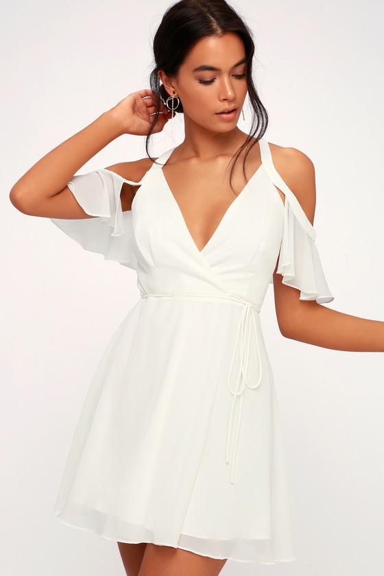 6a9110e99f65 Stunning White Dress - Wrap Dress - Off-the-Shoulder Dress