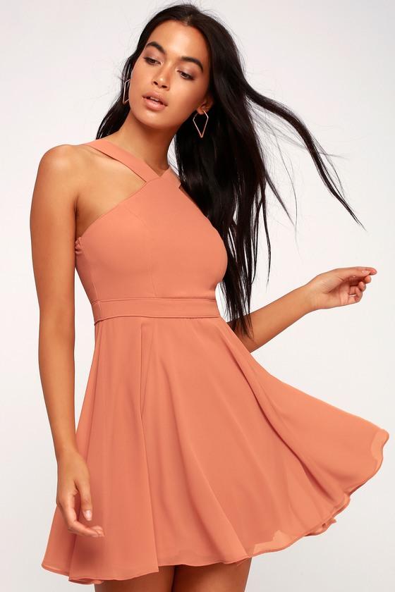 65ae53c17f Lovely Rusty Rose Dress - Halter Dress - Skater Dress