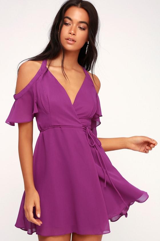 611efc3bf8f Stunning Magenta Dress - Wrap Dress - Off-the-Shoulder Dress
