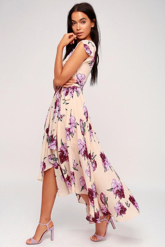 Blush Floral Print Dress - High-Low Dress - Wrap Dress 06d7a9a1a