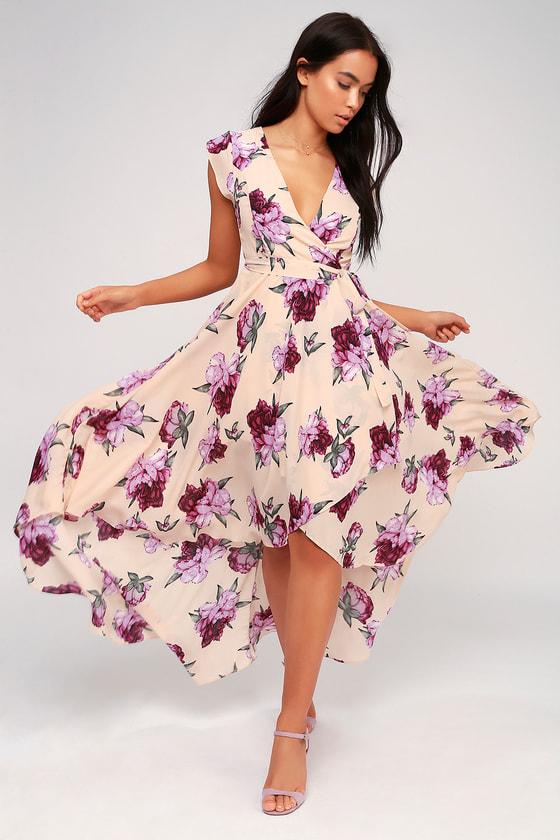 3429a7160e1f Blush Floral Print Dress - High-Low Dress - Wrap Dress