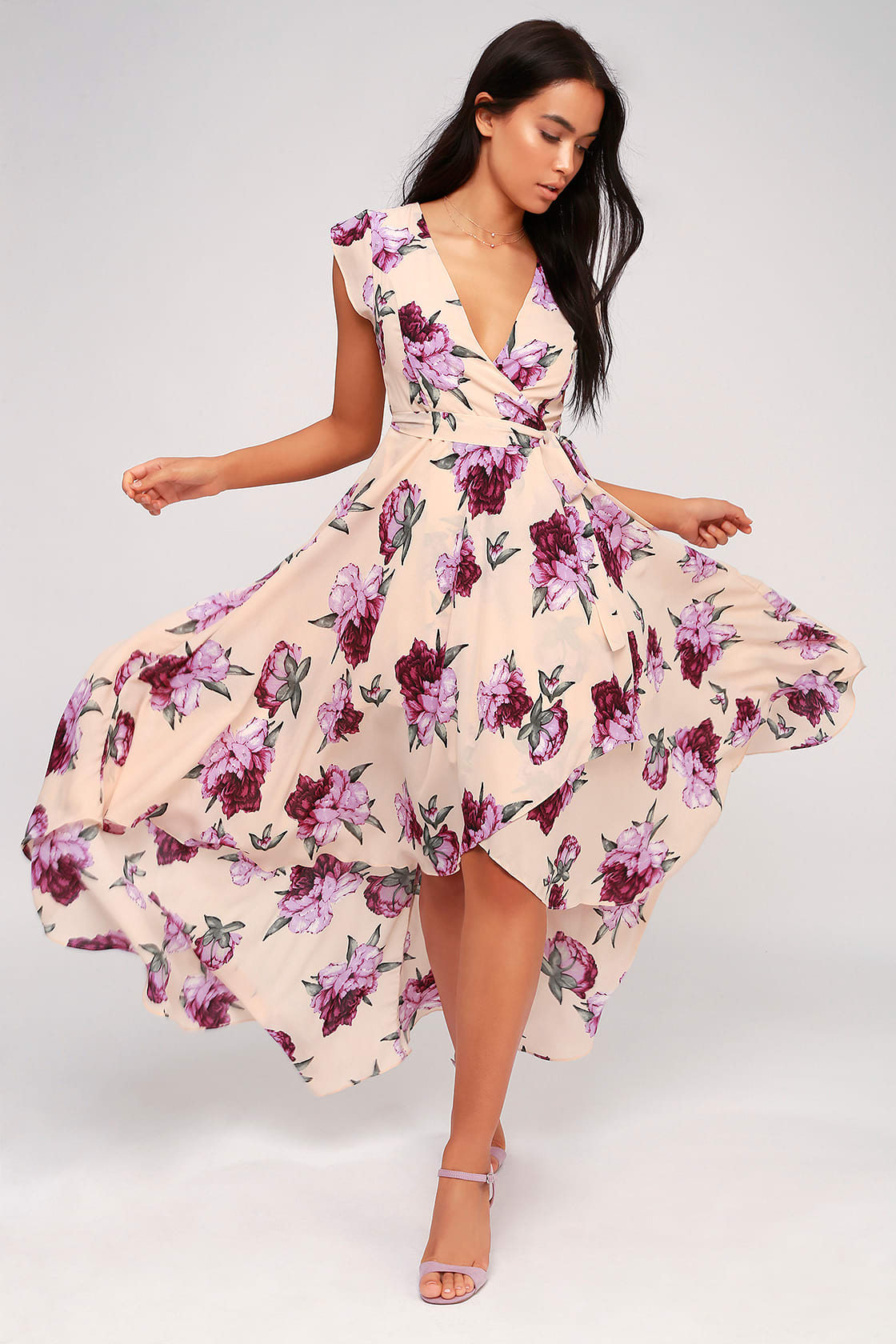 French Countryside Blush Floral Print High-Low Dress