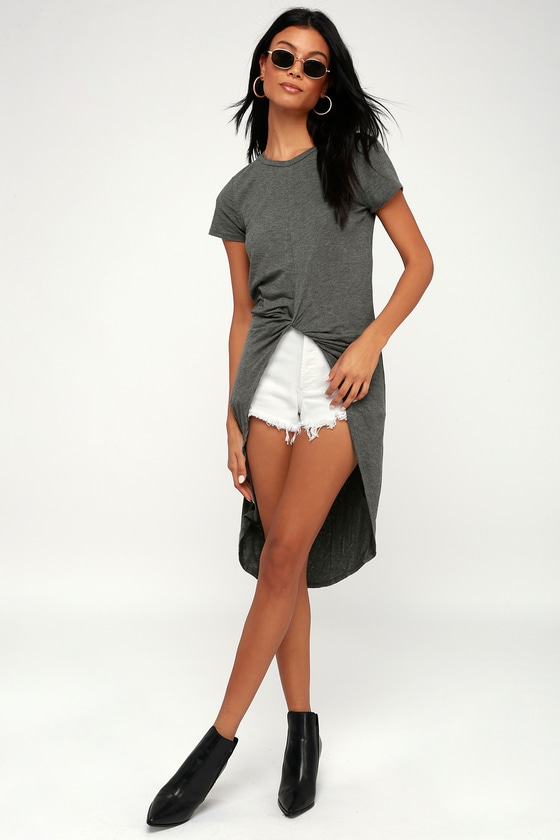 Surprise Party Dark Heather Grey Knotted High-Low Tee
