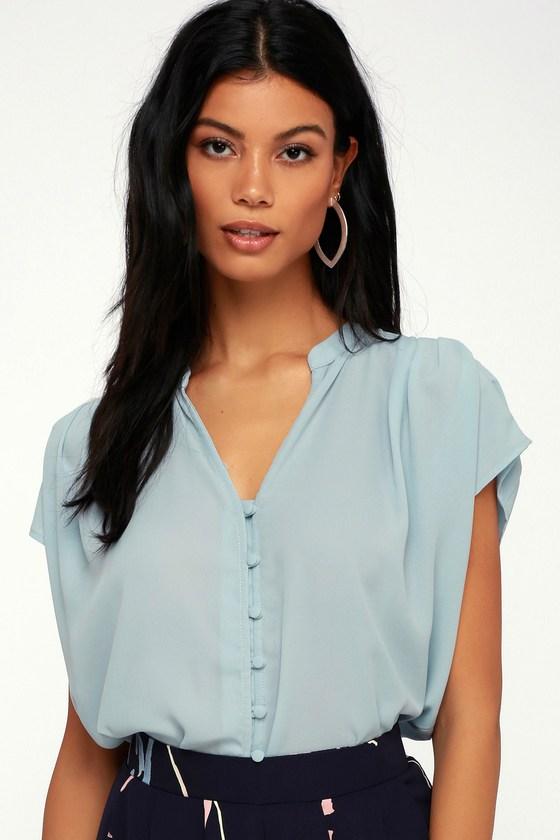325f5259814 Light Blue Top - Button-Up Top - Short Sleeve Top
