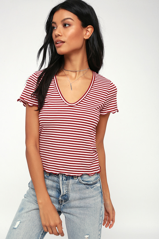 Line And Dandy Red And White Striped V Neck Tee by Project Social T