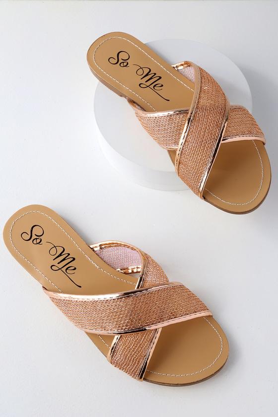 cb9566e730ea Cute Side Sandals - Rose Gold Sandals - Metallic Sandals