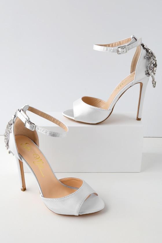 f0cf38b07f3 Stunning White Satin Heels - Rhinestone Peep-Toe Heels