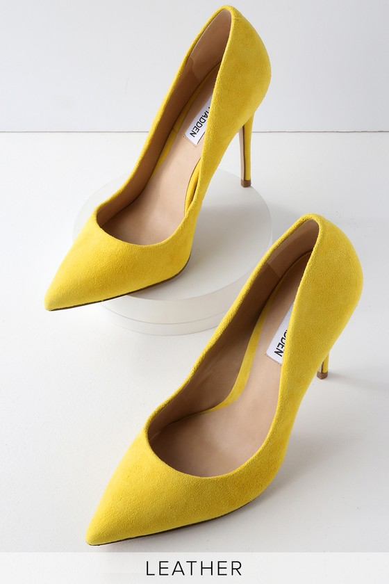 9e0e11c7294 Daisie Yellow Suede Leather Pumps
