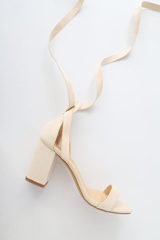 137b8052ea7 Lulus Airis - Nude Suede Heels - Lace-Up Heels