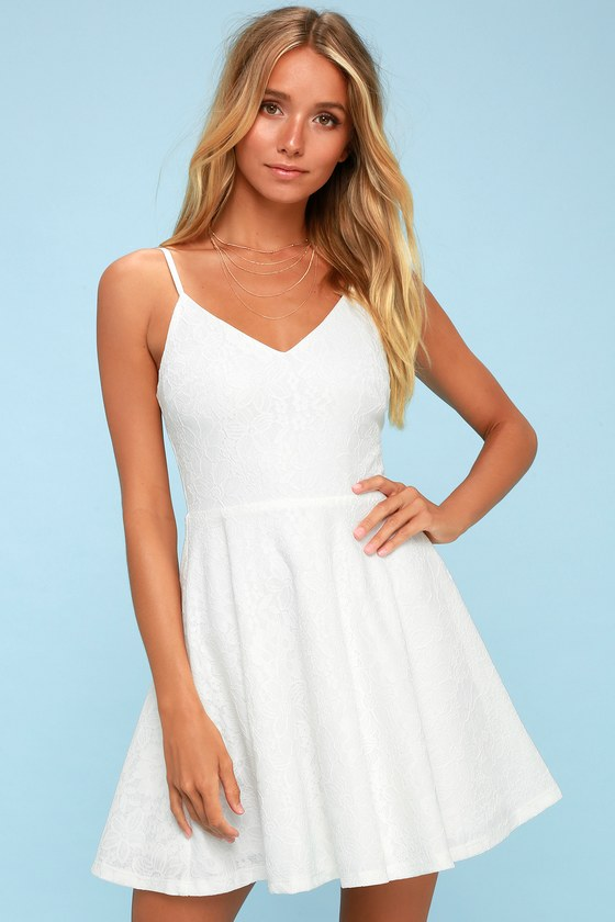 b757d4b88b Chic White Dress - Skater Dress - Lace Dress - LWD