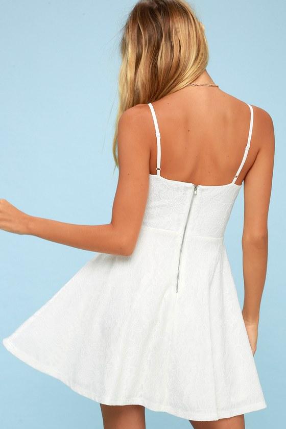 1daa040f25e Chic White Dress - Skater Dress - Lace Dress - LWD