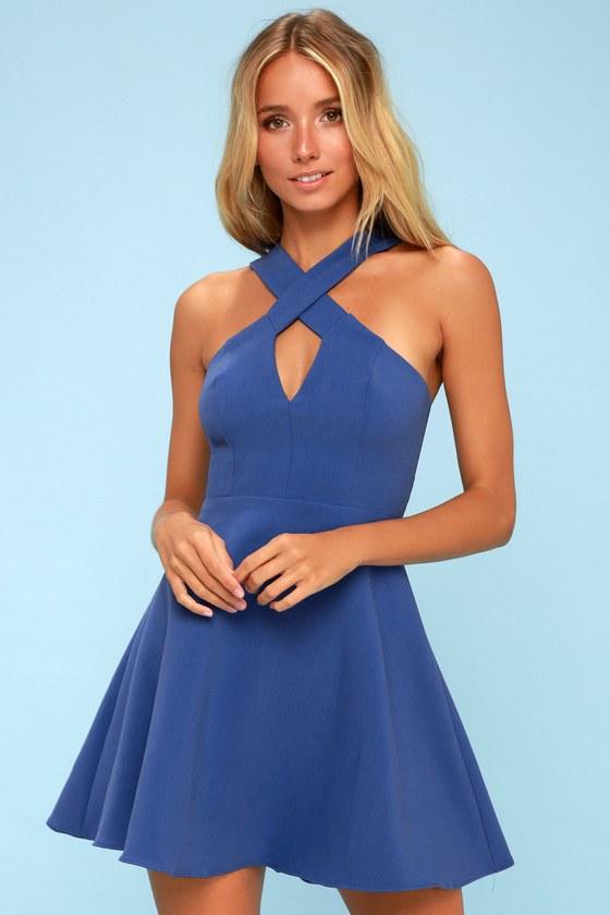 c9432526f1 Cute Royal Blue Dress - Skater Dress - Halter Dress