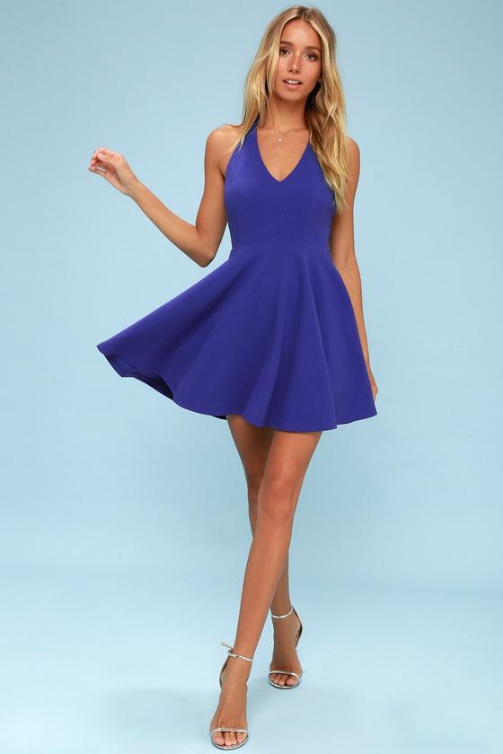 8166b5bac5 Royal Blue Dress - Skater Dress - Racerback Dress