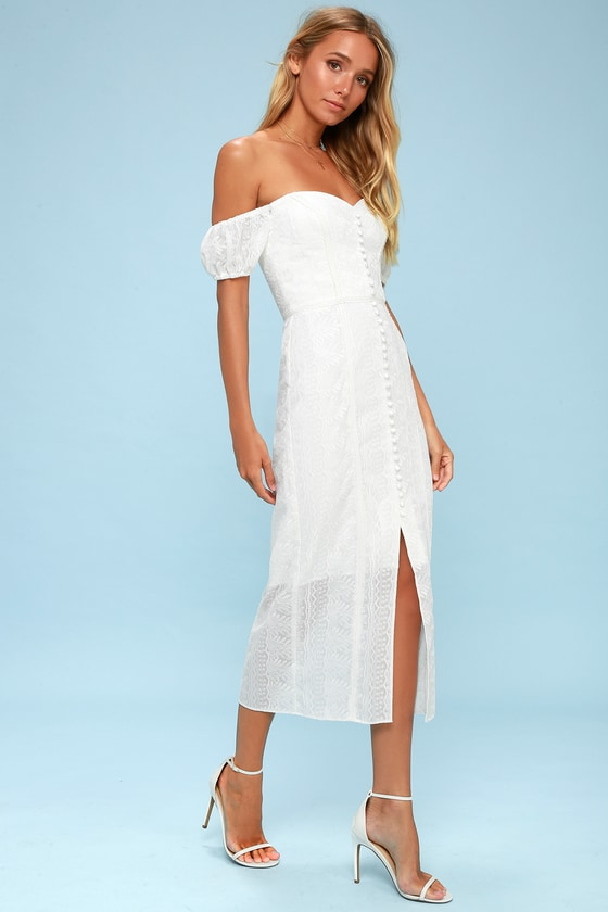 Finders Keepers Maella - White Embroidered Midi Dress fdfc511c9