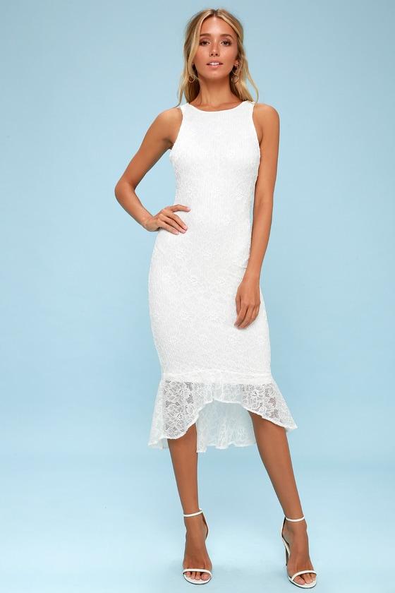 Sparkling Rose White Lace Bodycon Midi Dress - Lulus