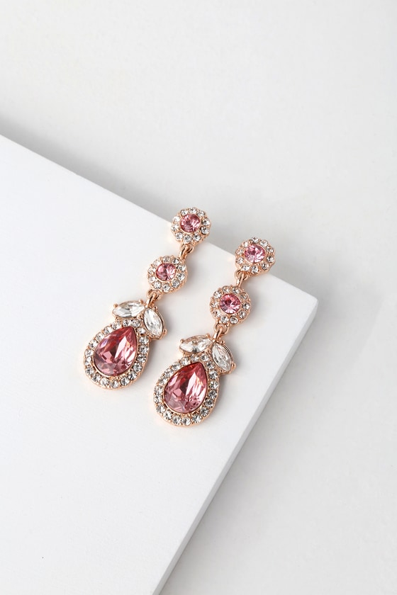 TRUE AFFECTION ROSE GOLD AND PINK RHINESTONE EARRINGS