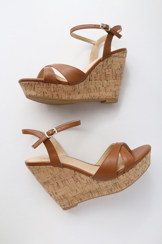 7a2c1985039 Cute Tan Sandals - Wedge Sandals - Cork Sandals