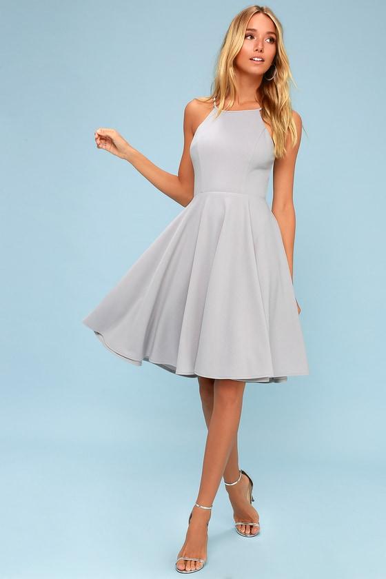 Cute Grey Dress Midi Dress Fit And Flare Dress
