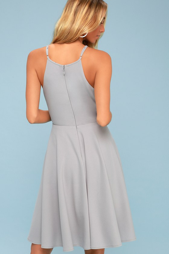 f69c1467017ea Cute Grey Dress - Midi Dress - Fit and Flare Dress