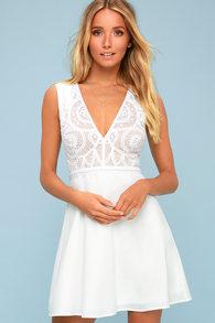 31e9656c3d Florentia White Crochet Lace Skater Dress