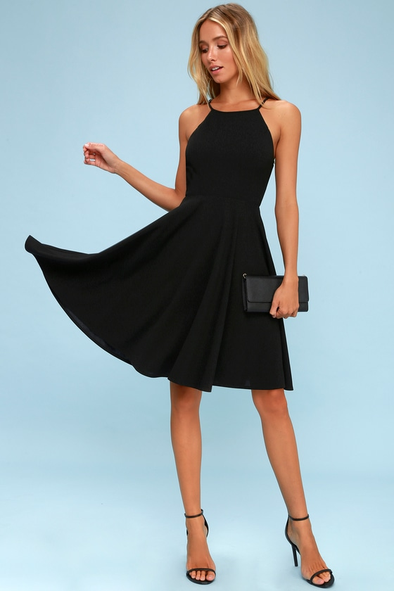 Cute Black Dress Midi Dress Fit And Flare Dress