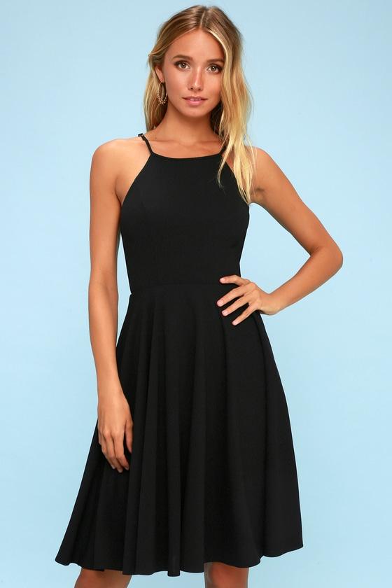 c18333a6e60 Cute Black Dress - Midi Dress - Fit and Flare Dress