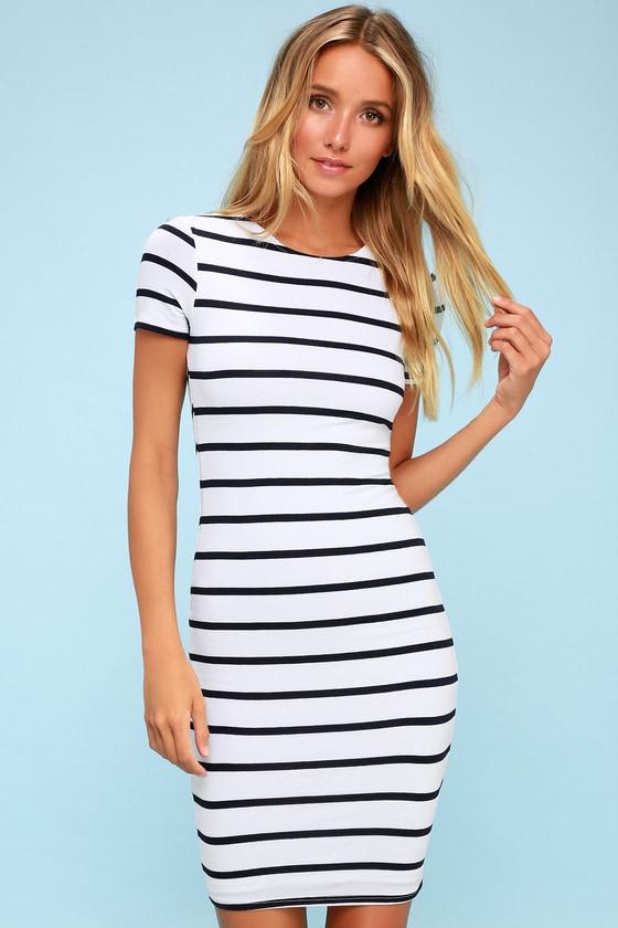 9217abff502c Chic Navy Blue Striped Dress - Striped Bodycon Dress