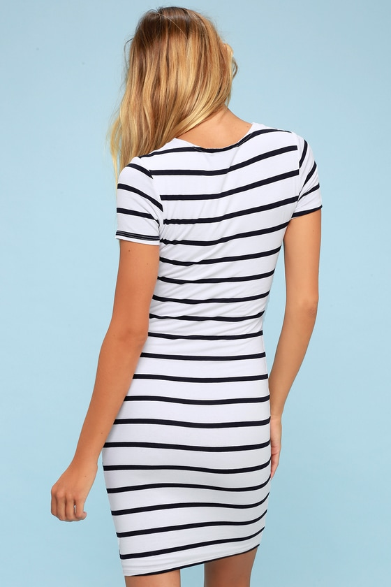 bfc34fbd3d Drop Me a Line Navy Blue and White Striped Bodycon Dress