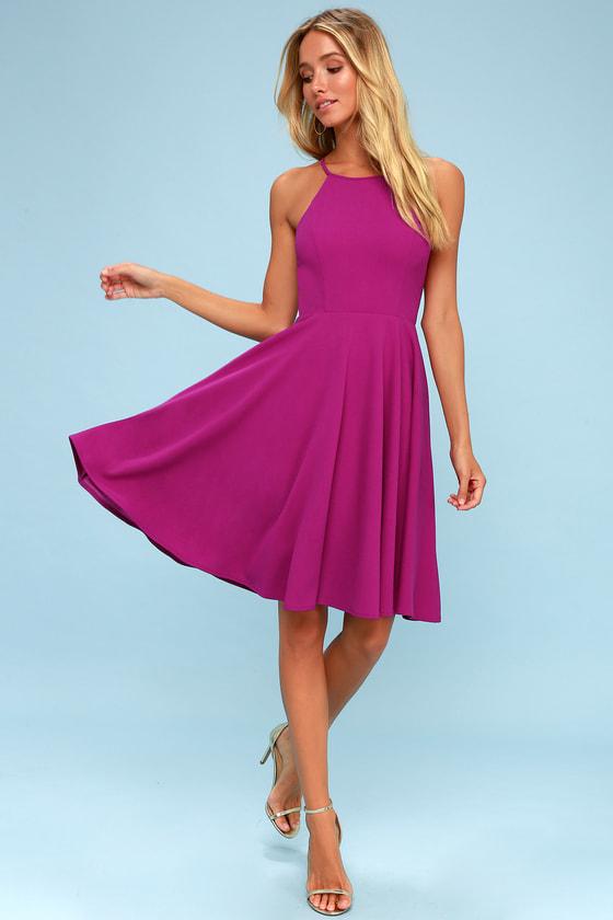 7bd3332d911d Cute Magenta Dress - Skater Dress - Fit and Flare Dress