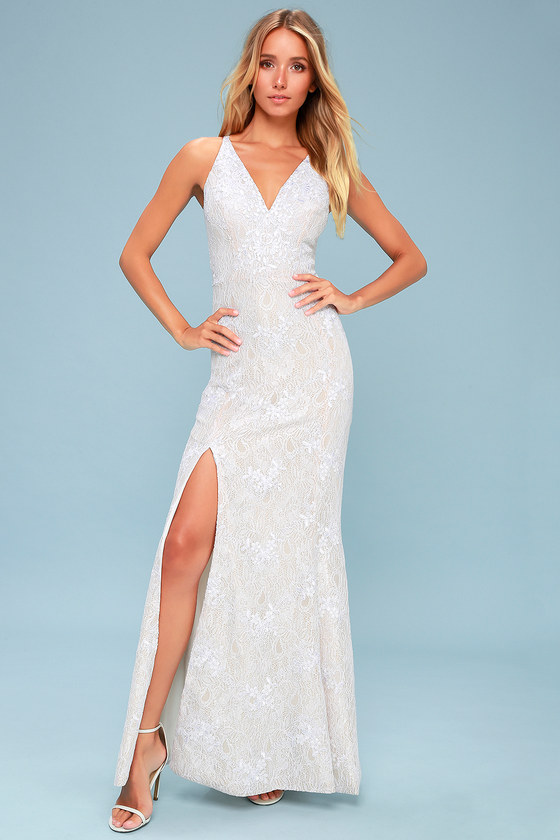cc2f5e07005 Dress the Population Iris - Nude and White Lace Maxi Dress