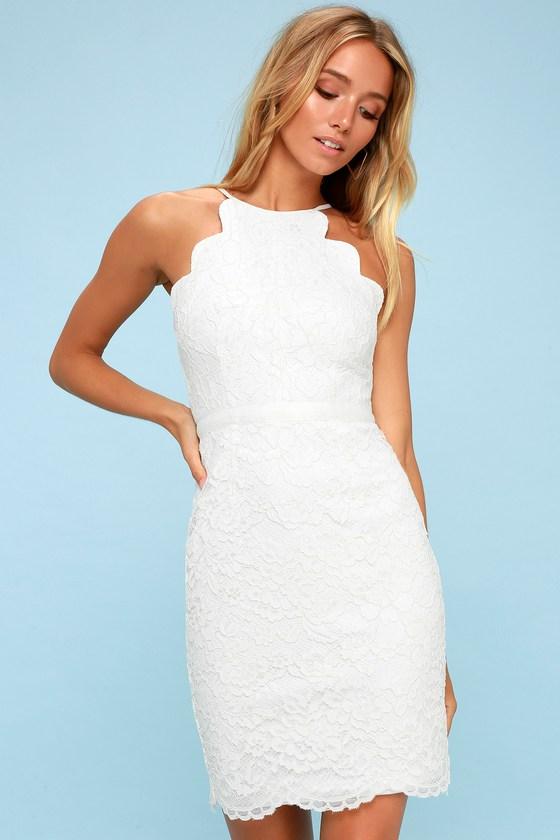 9b8aa0a75647 Chic White Lace Dress - White Scalloped Dress - LWD