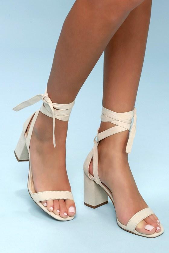 fe98d49085 Lulus Airis - Nude Suede Heels - Lace-Up Heels