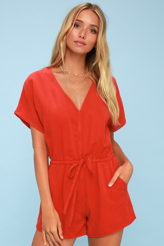 Magdalena Red Short Sleeve Romper by Obey