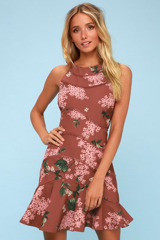 f4303863d2 Keepsake Wild Thoughts - Light Burgundy Floral Print Dress