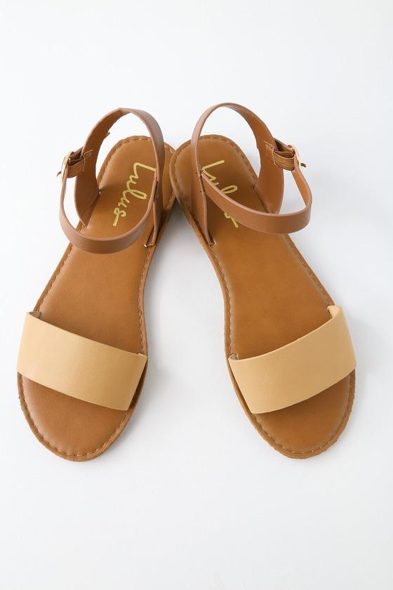 64febde4fdd525 Cute Natural Sandals - Flat Sandals - Ankle Strap Sandals -  17.00