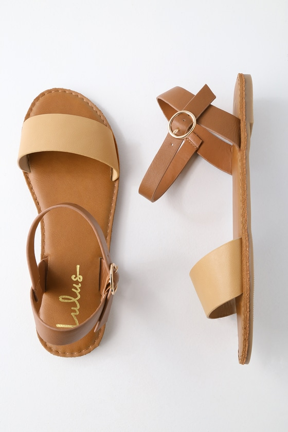 aa0efe94a375c2 Cute Natural Sandals - Flat Sandals - Ankle Strap Sandals -  17.00