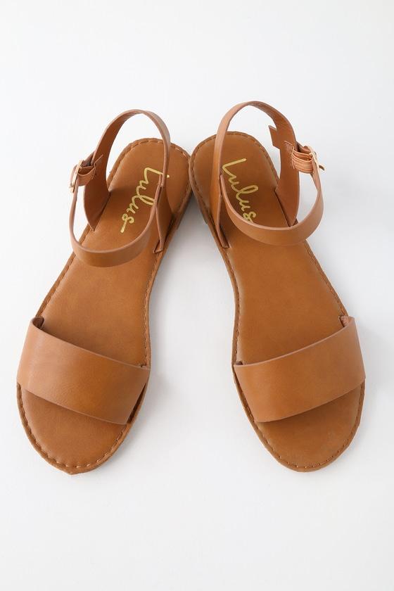 8b03bb5ba053 Cute Tan Sandals - Flat Sandals - Ankle Strap Sandals -  17.00