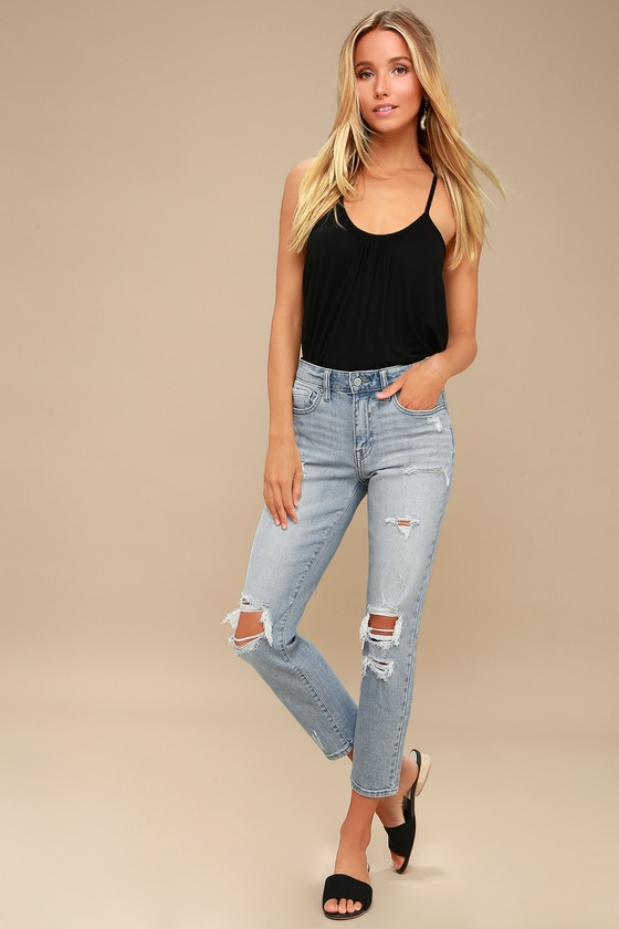 really cheap aliexpress biggest discount Tobi Light Wash High-Waisted Distressed Jeans