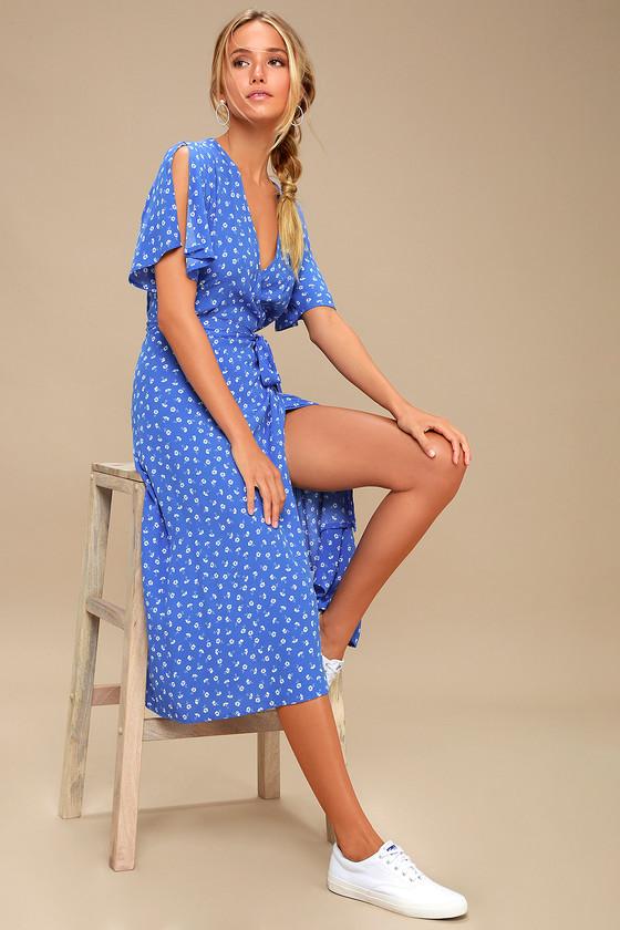 65b130666ad Blue and White Floral Print Dress - Wrap Dress - Midi Dress