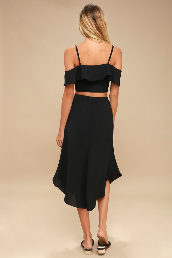 063f28b14 Malta Black Off-the-Shoulder Button-Up Two-Piece Dress